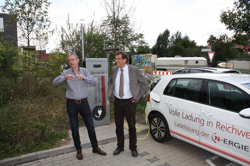 Zwei Personen stehen auf einem Parkplatz vor einer Elektro-Ladesäule und einem Elektro-Auto
