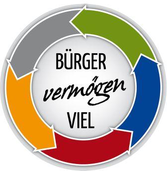 Kreis aus Pfeilen in verschiedenen Farben und in der Mitte der Schriftzug.