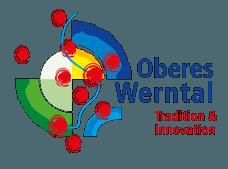 Logo der ILE Oberes Werntal stellt die Region abstrakt dar. Ein Fluss schlängelt sich durch die Kommunen der ILE.