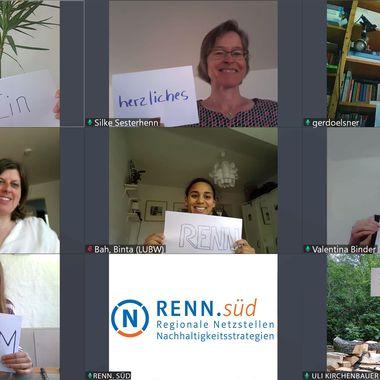 Das RENN.süd Team bei einer Videokonferenz.