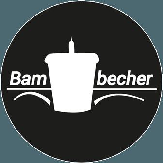 Das Logo der Bambecher Initiaitve zeigt einen weißen Becher auf schwarzem Hintergrund.