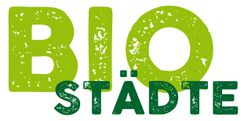 Das Logo der Biostädte zeigt dessen Namen und ist Hellgrün auf weißem Hintgergrund.