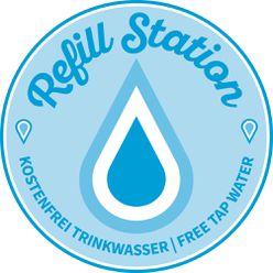 Das Logo zeigt einen Wassertropfen mit dem Slogan kostenfrei Trinkwasser.