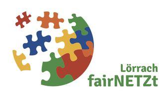 Das Logo der fairNETZt Lörrach - Initiative zeigt eine Weltkugel, die aus verschiedenen Puzzleteilen zusammengesetzt wird.