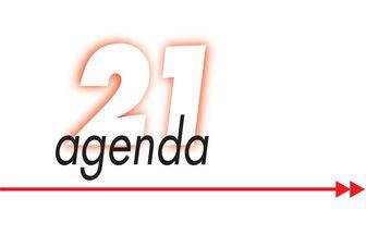 Das Logo der Agenda 21 Würzburg zeigt eine große Zahl 21, den Schriftzug agenda sowie einen roten Pfeil mit doppelter Spitze unter der Schrift