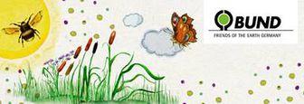 Das Logo des BUND Naturschutzes, der die Initiative unterstützt hat, enthält Pflanzen, die Sonne, eine Biene und einen Schmetterling.