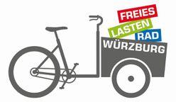 Das Logo der Initiative Freies Lastenfahrrad Würzburg zeigt ein Piktogramm eines Lastenfahrrades mit den Schriftzügen der Initiative im vorderen Korb