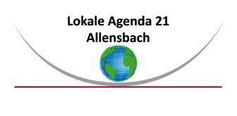 Das Logo der Lokalen Agenda 21 in Allensbach zeigt den Schriftzug über einem Globus, der auf einer grauen geschwungenen Linie über einer roten geraden Linie liegt