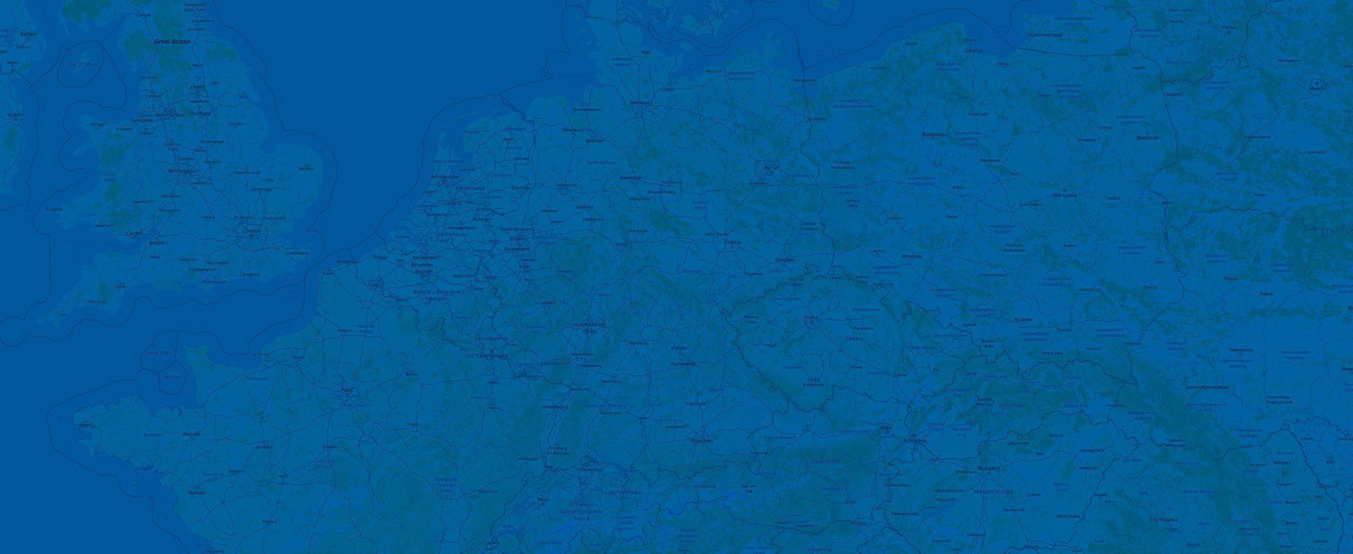 Blau eingefärbte Karte von Deutschland