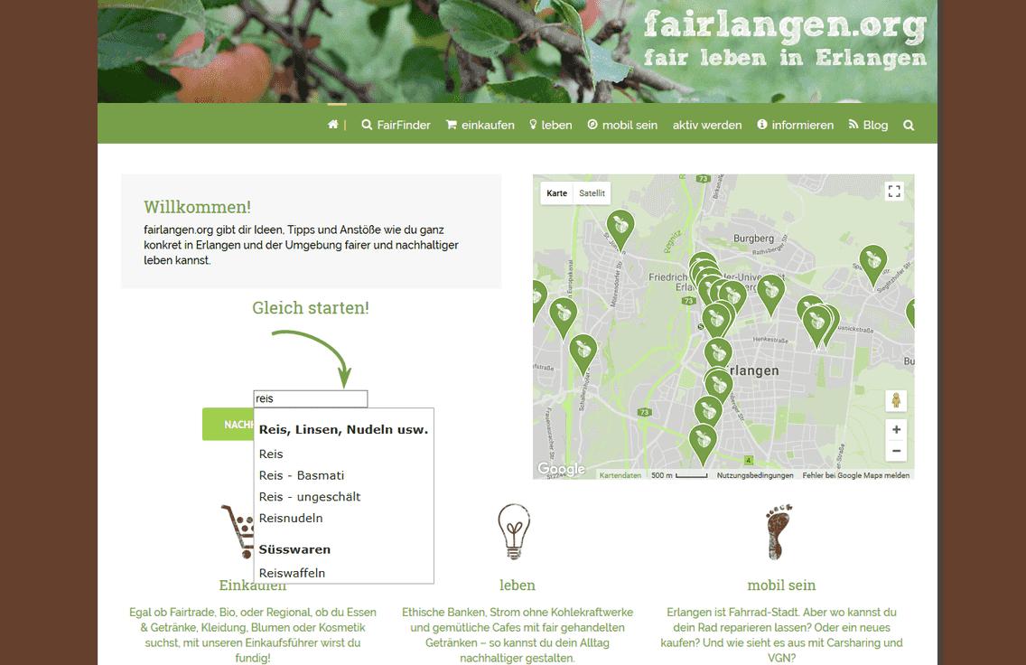 Das Bild ist ein Screenshot der Website von fairlangen.org.