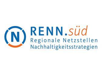 Logo der Regionalen Netzstelle Nachhaltigkeitsstrategien süd in blau und orange.