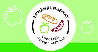 Weißer Kreis auf grünem Grund mit dem Schriftzug Ernährungsrat Landkreis Fürstenfeldbruck sowie mehrere Piktogramme von Lebensmitteln