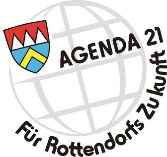 """Das Logo der Agenda in Rottendorf zeigt das Piktogramm eines Globusses mit dem Wappen der Stadt und dem Schriftzug """"AGENDA 21 Für Rottendorfs Zukunft"""""""