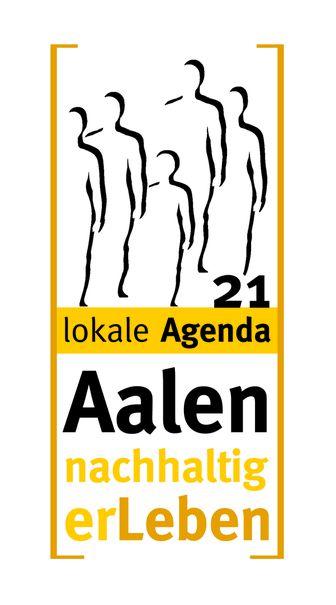 """Das Logo der Aalener Agenda 21 zeigt Umrisse von Menschen in einem gelben Kasten zusammen mit dem Schriftzug """"Aalen nachhaltig erleben"""""""
