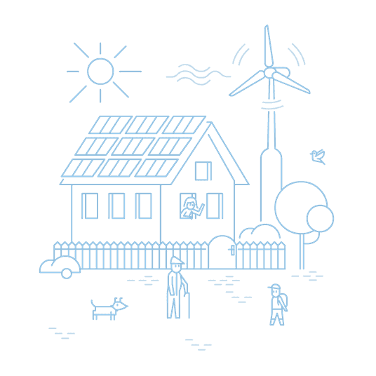 Mit Bürgerenergie zu mehr Nachhaltigkeit: Haus mit Solarpanels und Windrad