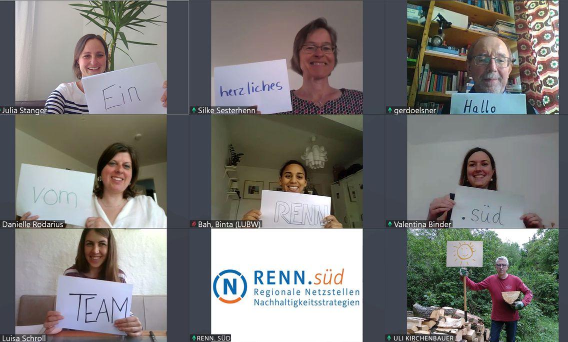 MitarbeiterInnen von RENN.süd während einer Videokonferenz.
