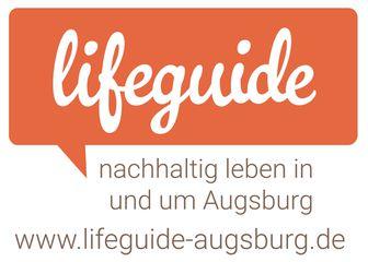 Logo. In einer orange Sprechblase steht der Titel Lifeguide darunter nachhaltig leben in und um Augsburg und der Link www.augsburg-lifeguide.de.