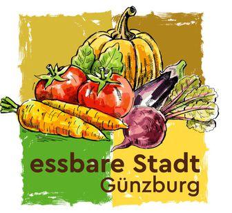 Schriftzug mit verschiedenen Gemüse auf vier bunten Quadraten.