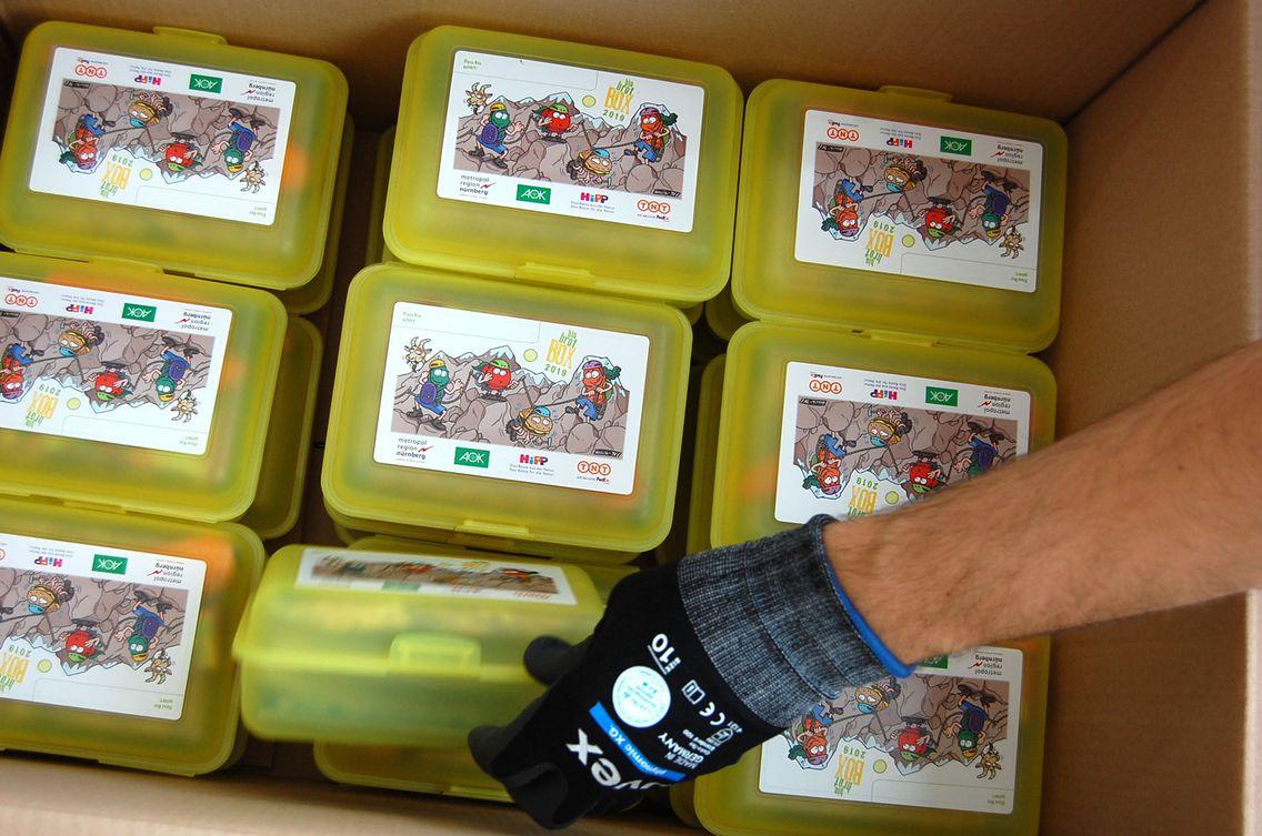 Das Bild zeigt einen Karton mit gefüllten Biobrotboxen.