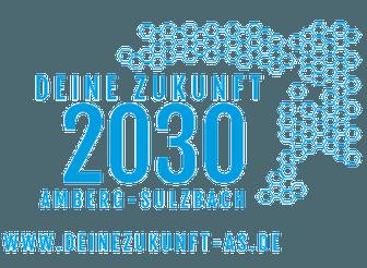 Deine Zukunft 2030 - Amberg-Sulzbach und darunter www.deinezukunft-as.de. Rechts oben neben der Schrift kleine blaube Waben.