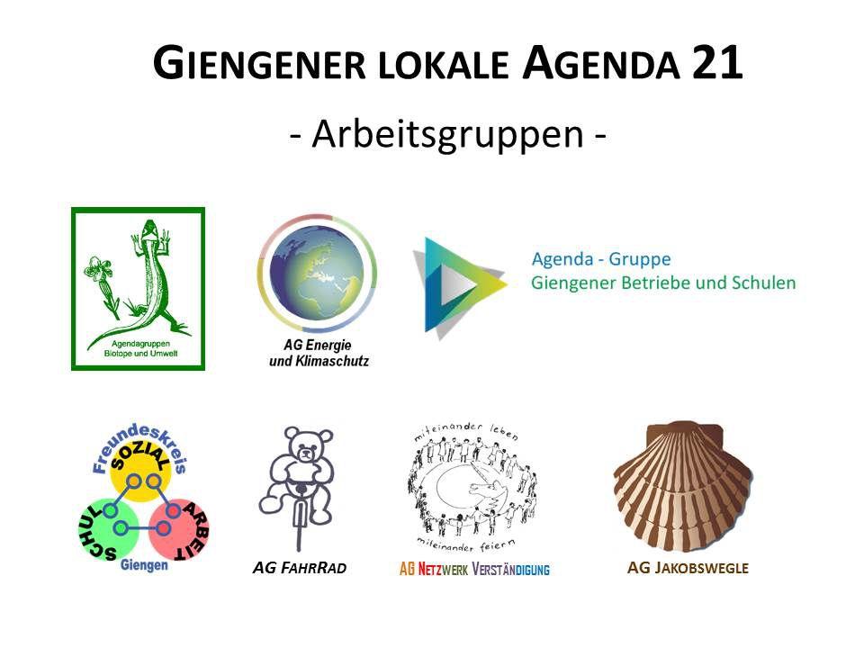 Zu sehen sind die acht Logos der Arbeitskreise der Giengener Lokale Agenda 21, darunter eine Eidechse, eine Erdkugel und das Piktogramm ein Bärs auf einem Fahrrad