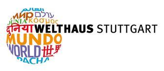 """Logo des Welthauses Stuttgart e.V. zeigt eine Art Weltkugel aus Schrift, die die Bezeichnung """"Welt"""" auf mehreren Sprachen enthält."""